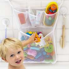 Bath Toys Kids Baby Tidy Storage Suction Cup Folding Bag Bathroom Toy Hanging bag Baskets Mesh Water toy