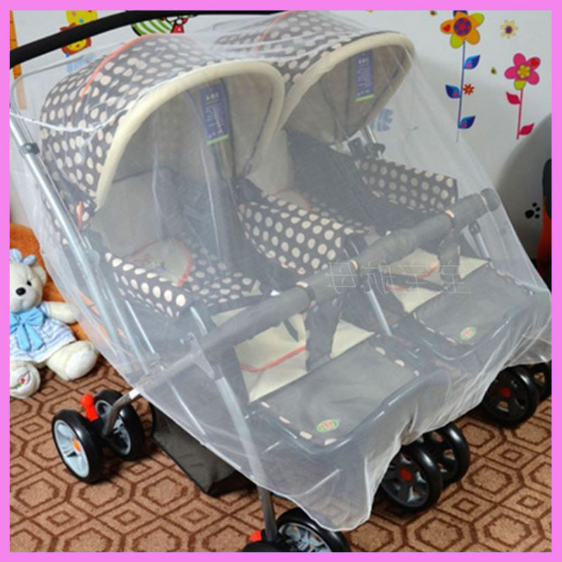 Twins Baby Stroller Baby Carriage Mosquito Net Large Mosquito Net for Double Baby Stroller Umbrella Pram Accessory Mosquito Net