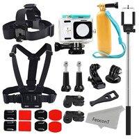 Xiaomi Yi Camera Accessories Kit Waterproof Housing Case Head Strap Mount Chest Harness Monopod Stick Floaty