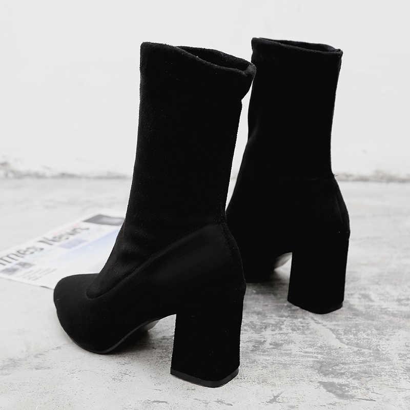 2019 inverno novas senhoras selvagem preto moda rebanho botas femininas casuais confortáveis doce botas de salto alto botas femininas mujer c74