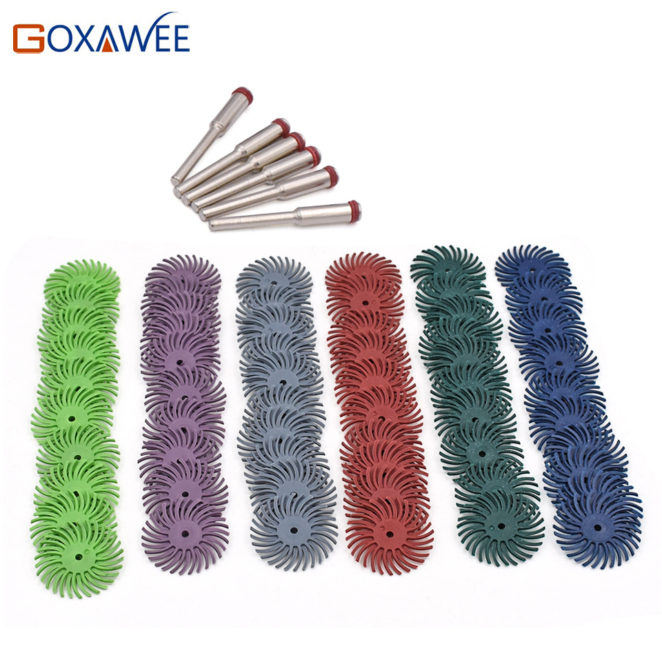 60pcs Dremel Accessories Radial Bristle Abrasive Brush Polishing Buffing Wheel Mixed Grit +6pcs Mandrel For Rotary Tools