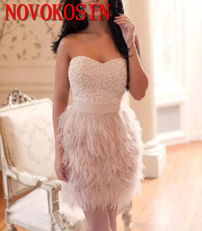 2019 Pink Ostrich Feather Sweetheart Beaded Pearls Sheath Satin   Cocktail     Dresses   High Quality Women Sleeveless Formal Party Gown