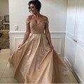 Encanto Fuera Del Hombro Champagne Vestidos de Baile 2017 Nueva Lentejuelas Corpiño de Satén Vestido De Festa Mujeres Largo Vestidos de Fiesta Formal
