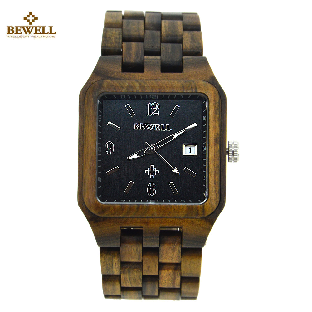 BEWELL Wood Watch Men Vogue Square Dial Auto Date Quartz Watch Wooden Men Luxury Brand Business Watches With box relojes hombre new fashion wooden watches men luxury brand modern wood wristwatch quartz day date square clock male business dress watch