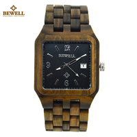 BEWELL Wood Watch Men Vogue Square Dial Auto Date Quartz Watch Wooden Men Luxury Brand Business Watches With box relojes hombre