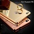 Venda quente para o Huawei P8 caso luxo espelho de Metal de alumínio + acrílico telefone rígido Capa fundas Huawei P8 5.2 acessório Capa