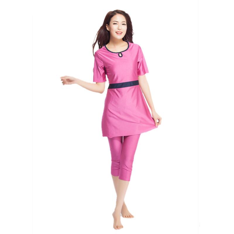 77a7dd72379 ... YONGSEN Modest Swimming Suit Women Muslim Swimwear Plus Size Modest  Short Sleeves Islamic Swimsuit Beach Wear ...
