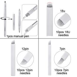 Image 5 - Wenkbrauw Microblading Kit Tattoo Handmatige Pen Drie Hoofd 30Pcs Naalden Permanente Make Up Blades Tattoo Supplies Machine Apparatuur