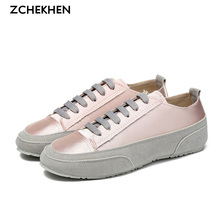 Silk Satin Suede Leather Lace-up Casual Walking Shoes White Shoe Restoring Ancient Flat Female Students Pink White