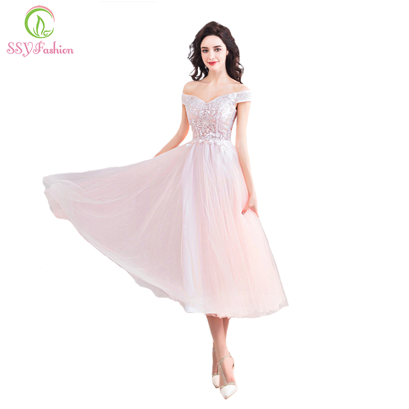 SSYFashion New Sweet Light Pink Cocktail Dress Boat Neck Tea length Lace Appliques Beading Party Formal