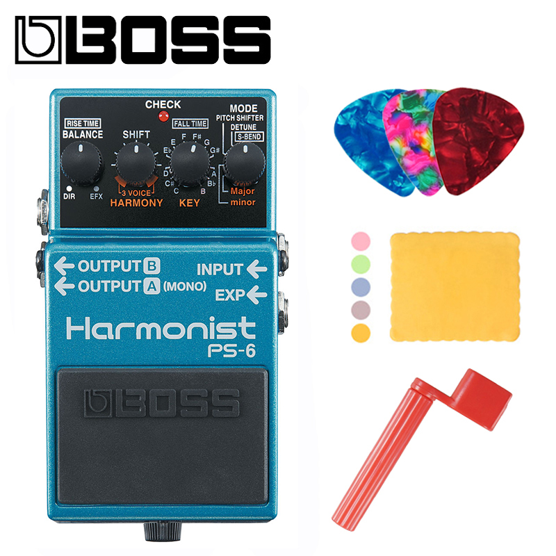 Boss PS-6 Harmonist Pitch Shifter Stomp Box Effects Pedal Bundle with Picks, Polishing Cloth and Strings Winder