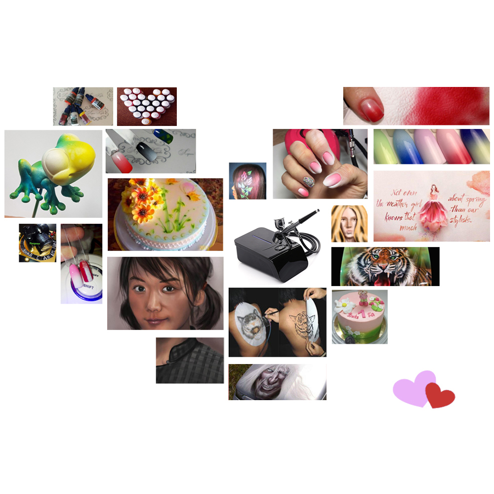 Pinkiou сенсорный экран управления 5 передач Аэрограф компрессор комплект аэрограф косметика для лица Краски макияж, окрашивание торт, ногти искусство - 2