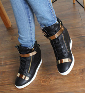 Image 5 - 2018 Spring Autumn Style wedges sneakers women high top PU leather High heel casual shoes women sneakers black white
