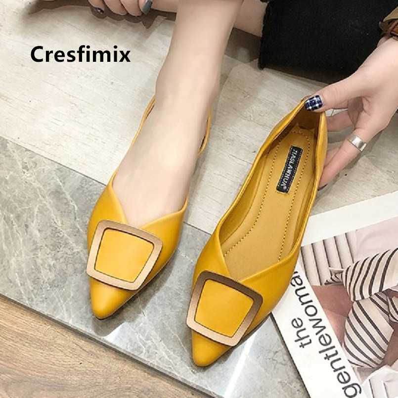 Cresfimix Zapatos De Mujer Women Cute Soft Comfortable Yellow Flat Shoes Lady Casual Green Pointed Toe Summer Office Flats E5040