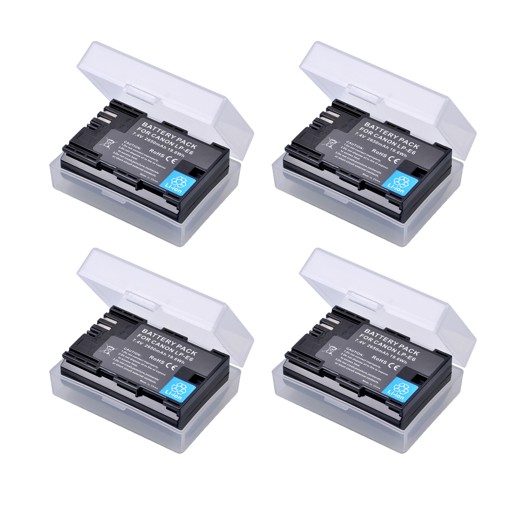4 pc 2650 mAh LP-E6 LPE6 LP E6 LP-E6N Rechargeable Li-ion Batterie Pour Canon EOS 5DS R 5D Mark II 3 5D Mark III 6D 7D 60D 60Da 70D