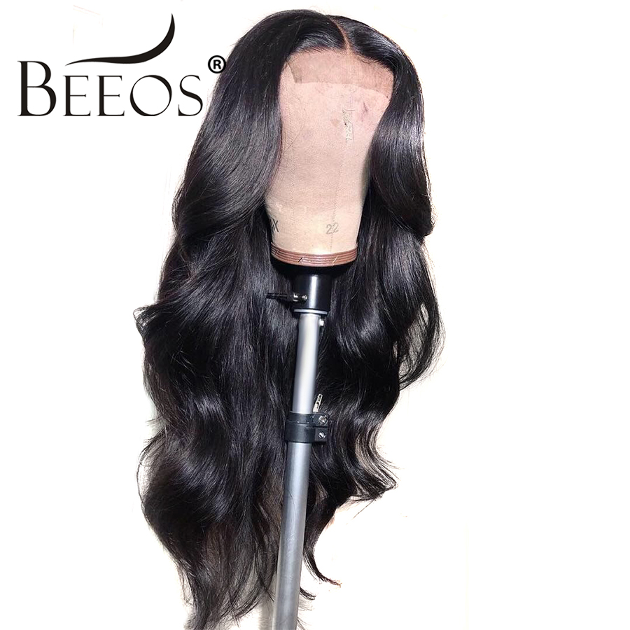 Beeos Body Wave Full Lace Human Hair Wigs Brazilian Hair Natural Black Remy Human Hair Bleached Knots Pre Plucked
