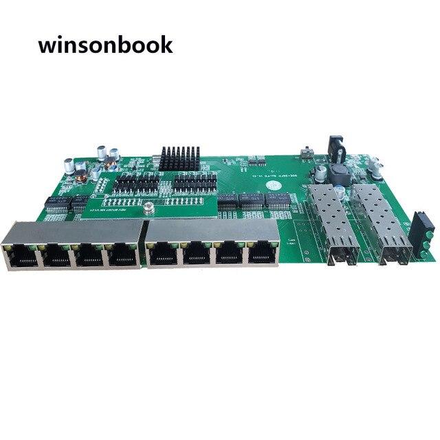 Commutateur PoE inverse 8x10 M/100 M/1000 M Port et 2 SFP Gigabit Ethernet commutateur carte mère PCB