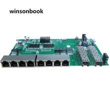 הפוך PoE מתג 8x10 M/100 M/1000 M נמל & 2 SFP Gigabit Ethernet מתג PCB לוח האם