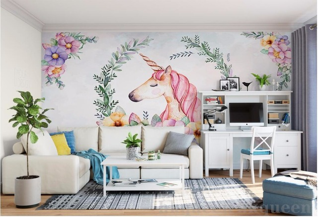 WDBH custom mural 3d wallpaper Hand draw the leaves unicorn decor