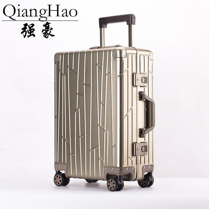 100% Alle Aluminium Gepäck Hardside Roll Trolley Gepäck Reise Koffer 20 Tragen Auf Gepäck 24 Überprüft Gepäck