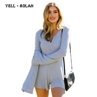YELL ROLAN Womens Solid Elegant Zipper Playsuit 2018 Summer Casual Loose Beach Party Romper Feminino Sexy