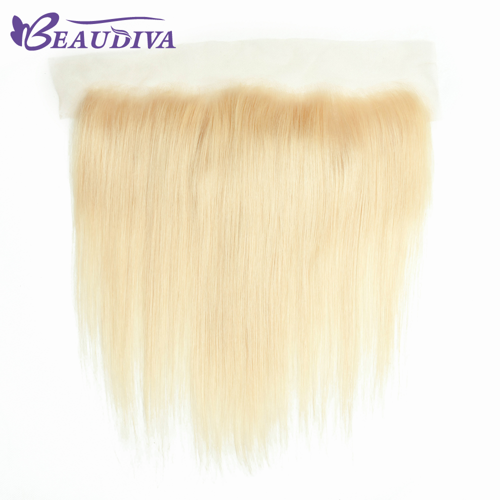 Beaudiva Hair Brazilian Human Hair 613 Blonde Lace Frontal Closure Free Part Straight 13x4 Bleached Knots With Baby Hair Mild And Mellow Hair Extensions & Wigs