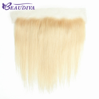 BEAUDIVA HAIR Brazilian Human Hair 613 Blonde Lace Frontal Closure Free Part Straight 13x4 Bleached Knots With Baby Hair