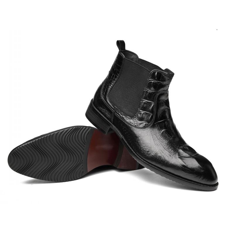 Hiver Haute Black Rouge Chaussures Chelsea Slip Nouvelle Bottes Bout Mode Plat red Cuir Noir Sur Véritable Hommes Qualité Scarpe Pointu WH9Ee2IYD