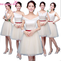 champagne colored short length fitted braidsmaid party dress woman summer bride maid dresses ball gown for weddings H3948