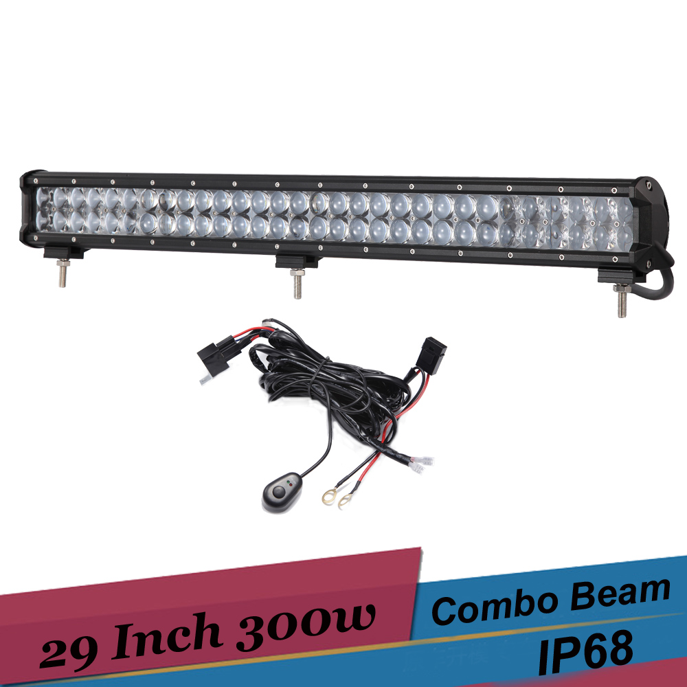 300W 4D LED Light Bar Combo Car LED Work Light 29 Inch Off road Bar Light Driving Lamp 4x4 SUV AWD Truck Trailer Boat Van Camper brand new universal 40 w 6 inch 12 v led car work light daytime running lights combo light off road 4 x 4 truck light