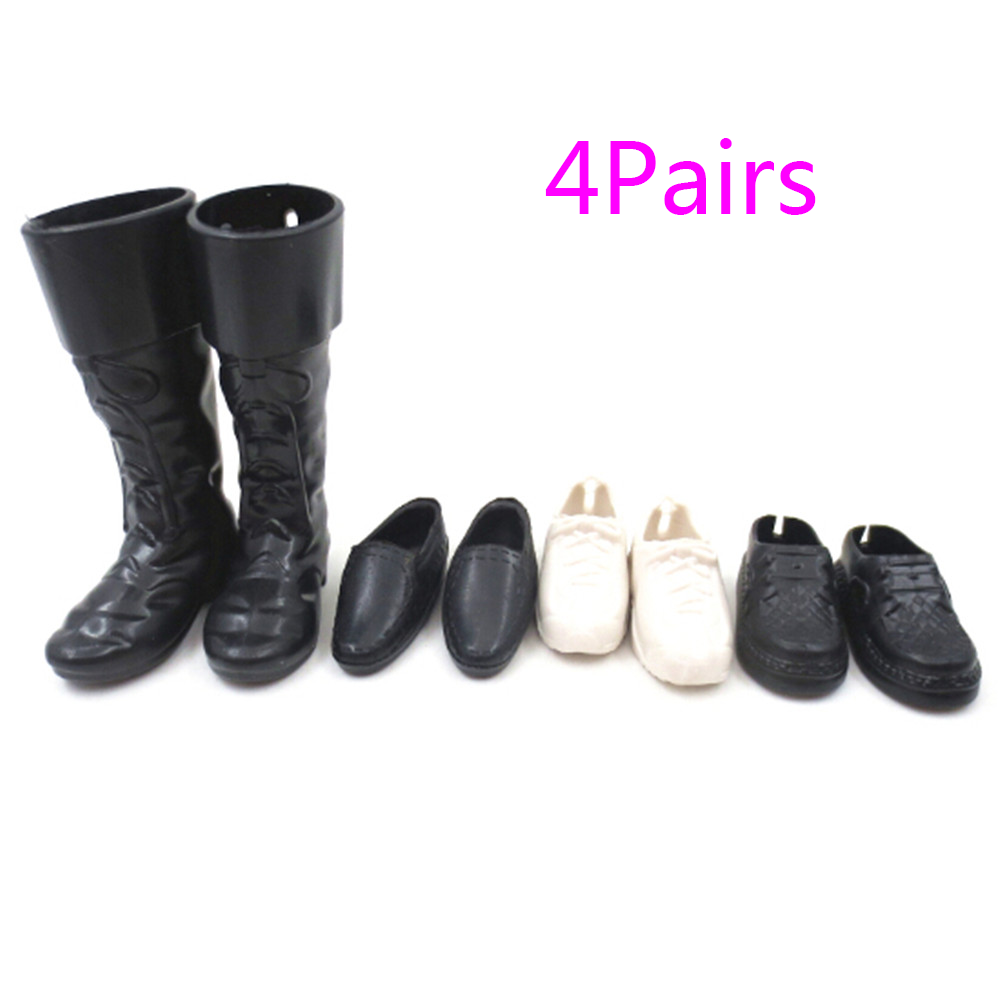 4 Pairs Dress Up For  Friend Dolls Cusp Shoes Sneakers Knee High Boots For  Boyfriend Ken Clothes Accessories