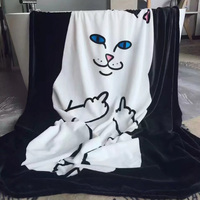 Cat Printed Thick Super Soft Warm Winter Plush Fleece Throw Blanket Rug for Sofa Bedding Blanket Home Decor Micro Travel Blanket