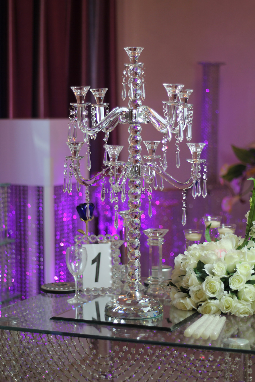Free Shipping Wedding Decoration Crystal Chandelier Candelabra Centerpiece 9 Arms Table Lamp