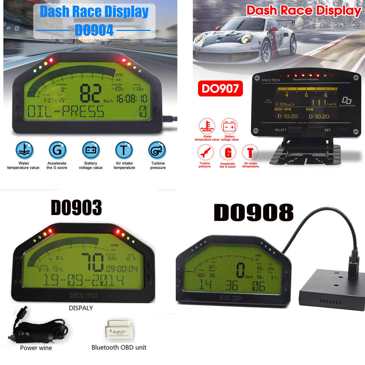 Waterproof Dash Race Display Full Sensor Kit LCD Screen OBD Bluetooh Connection Universal DashBoard DO903 DO904 DO907 DO908