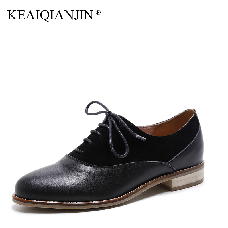KEAIQIANJIN Woman Genuine Leather Derby Shoes Plus Size 33 - 42 Spring Autumn Black Flats Casual Lace-Up Genuine Leather Oxfords lovexss oxford shoes 2017 spring autumn toe lace up white woman flats genuine leather derby shoes women big size 33 42 oxfords