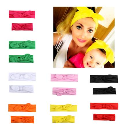 2Pcs/Set Mommy and me Matching Headbands Photo Prop Gift for Mom and Kids Rabbit Ears Elastic Cloth Bowknot Headband Accessories 1set mommy and me rabbit ears bow headbands boho turban headband pair set top knotted fabric cotton elastic headband baby mom
