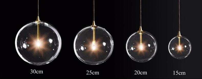 Image 4 - LukLoy Modern Bubble Clear Glass Ball Pendant Light Vintage Loft Kitchen Island Living Room Bedside Simple Retro Suspension Lamp-in Pendant Lights from Lights & Lighting