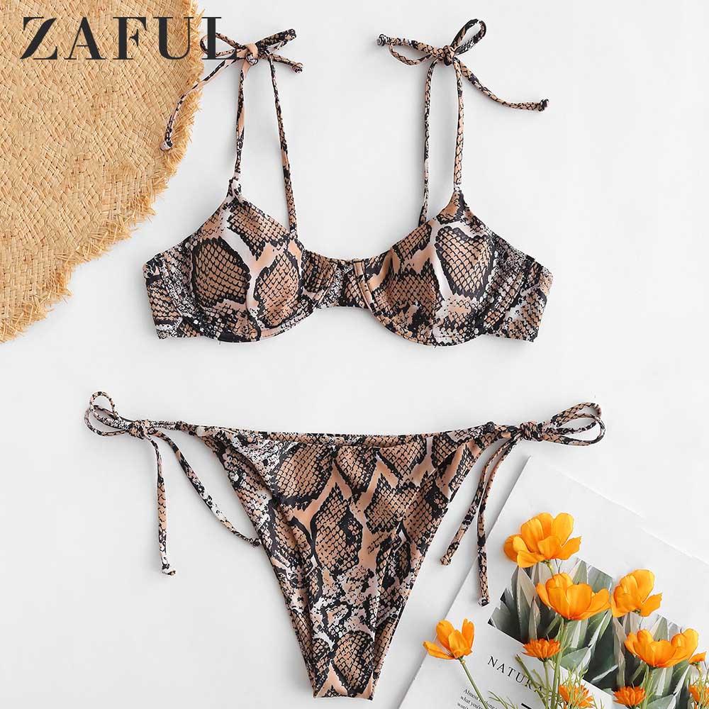 ZAFUL Snake Print Tie Shoulder Underwire Bikini Set Spaghetti Straps Women Swimsuit Padded Swimwear Low Waisted Bathing Suit