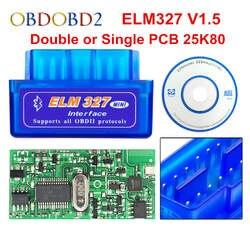 Супер Мини ELM 327 Bluetooth V1.5 PIC18F25K80 мини ELM327 1,5 OBD2 автомобиля диагностический инструмент Поддержка J1850 протоколы Бесплатная доставка