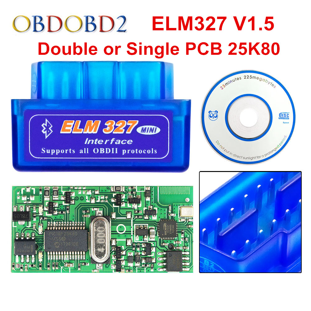 Super Mini ELM 327 Bluetooth V1.5 PIC18F25K80 Mini ELM327 1,5 OBD2 herramienta de diagnóstico de coche compatible con protocolos J1850 envío gratis Nuevo V1.5 Elm327 adaptador Bluetooth Obd2 Elm 327 V 1,5 escáner de diagnóstico automático para Android Elm-327 Obd 2 ii herramienta de diagnóstico de coche