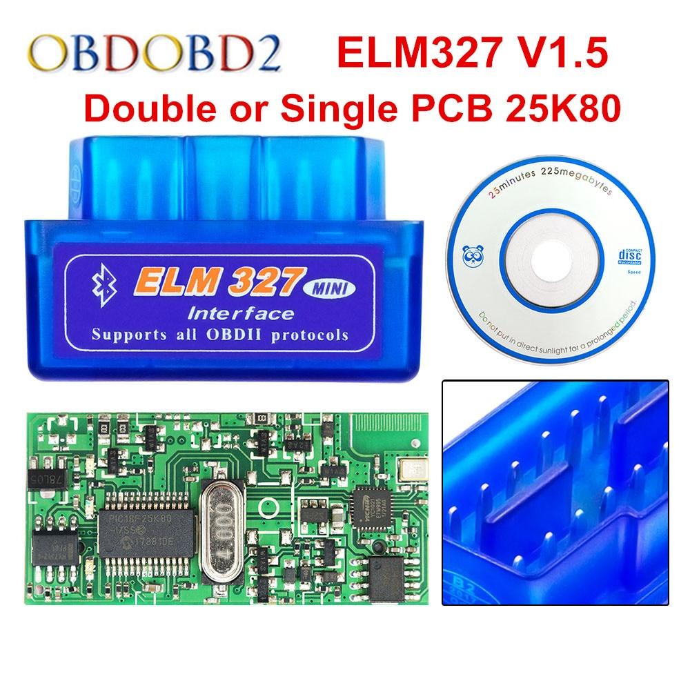 Super Mini ULME 327 Bluetooth V1.5 PIC18F25K80 Mini ELM327 1,5 OBD2 Auto Diagnose Werkzeug Unterstützung J1850 Protokolle Freies Schiff