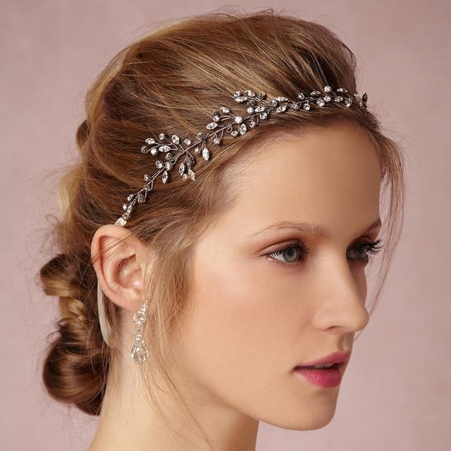 ec0e39eaf75 Fashion Rhinstone Silver Bridal Hair Vine Jewelry Handmade Headbands  Wedding Headband Accessories Women Party Prom Tiara