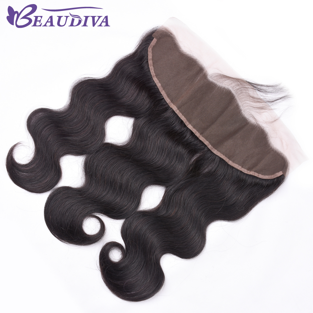Beaudiva Hair Lace Frontal Closure Brazilian Hair Body Wave 13x4 Free Part Remy Human Hair Closure With Baby Hair Natural Color