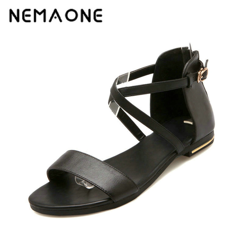 цена на NEMAONE 100% Genuine Leather New Arrival Hot Sale Fashion Summer Sweet Women Flats Heel Sandals Casual Buckle Strap Women Shoes