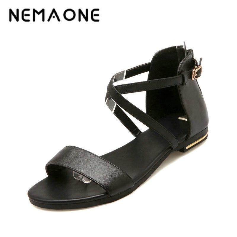 NEMAONE 2017 Genuine Leather New Arrival Hot Sale Fashion Summer Sweet Women Flats Heel Sandals Casual Buckle Strap Women Shoes