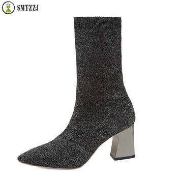 SMTZZJ Luxury Brand Designer Women Black Ankle Knit Sock Boots 2019 Fashion Spring Autumn Boots Chunky High Heels Pointed Toe