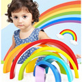 1 Set Educational Colour Sort Rainbow Wooden Blocks Kid's Circle Set Creative Baby Toys For Children Early Learning Game Gifts