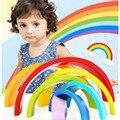 1 Unidades Educativos Color Tipo Arco Iris Conjunto Círculo Creativo Del Bebé Bloques De Madera Para Niños Juguetes Para Niños Aprendizaje Temprano Juego regalos