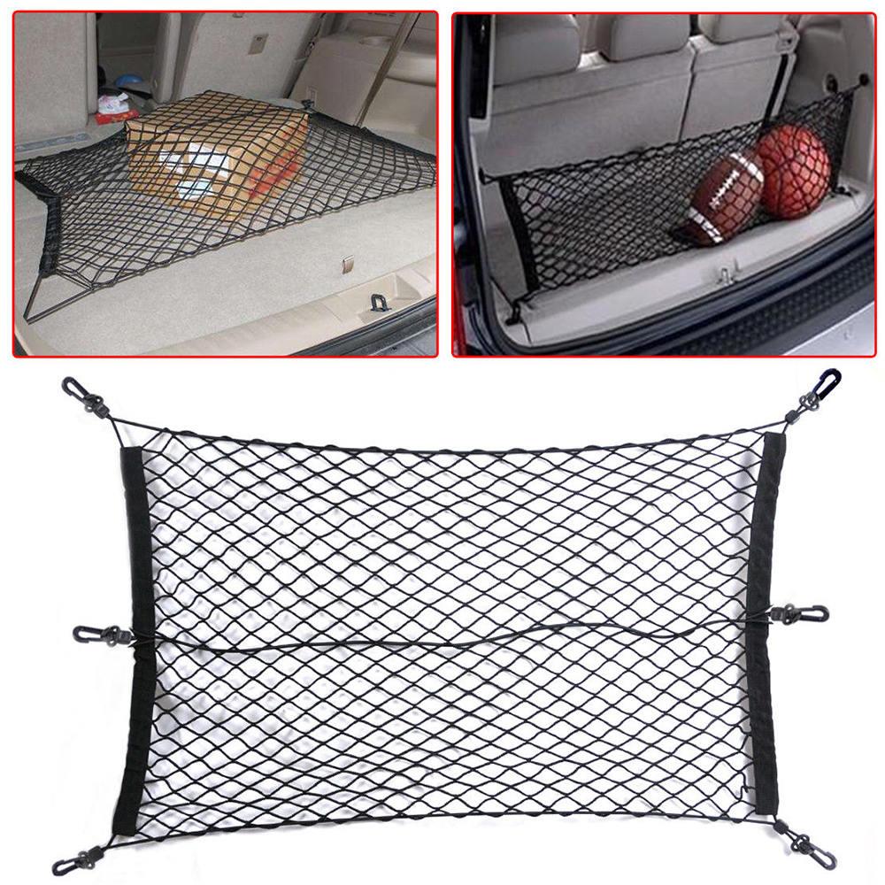 60 X 90 cm Car SUV Elastic Nylon Rear Cargo Trunk Storage Organizer Flexible Net +Hook *4