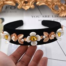 2017 Fashion Catwalk Baroque Hairband Pearl Flower Headband Gold Leaves Crown Wedding Hair Accessories Crystal Hair Jewelry Gift